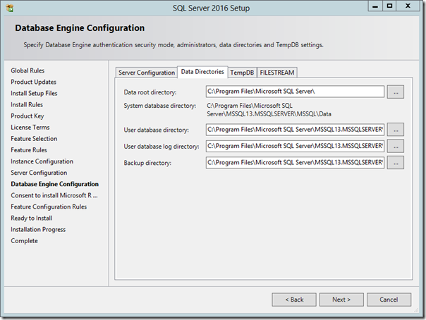 SQL Server 2016 Database Engine Configuration Data Directories
