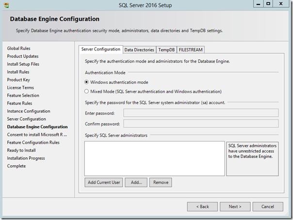 SQL Server 2016 Database Engine Configuration