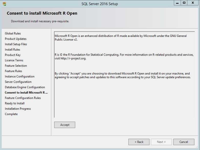 Installing SQL Server 2016 with R Services in a Development