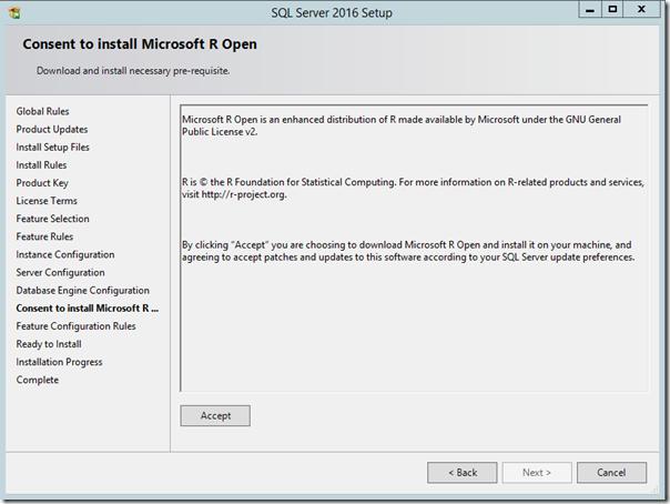 SQL Server 2016 Install Microsoft Open R