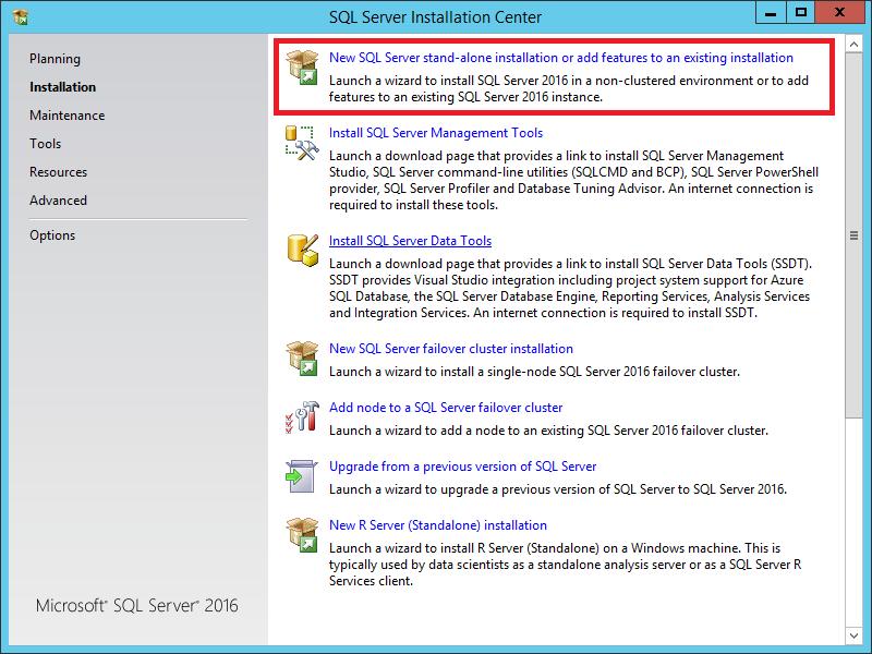 Screenshot of SQL Server 2016 Installation Screen