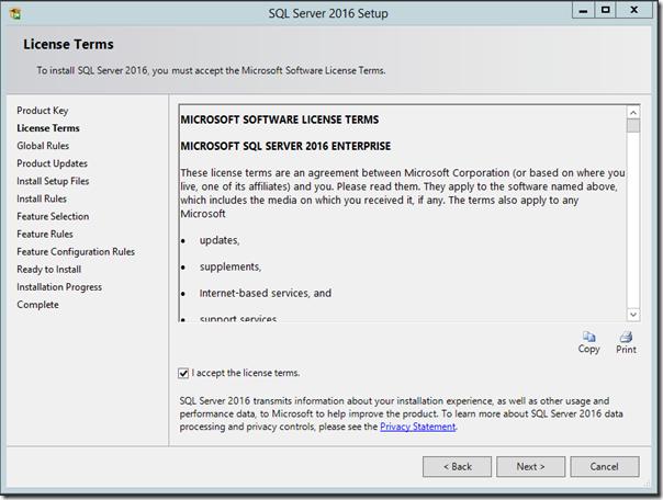 SQL Server 2016 Liscense Terms