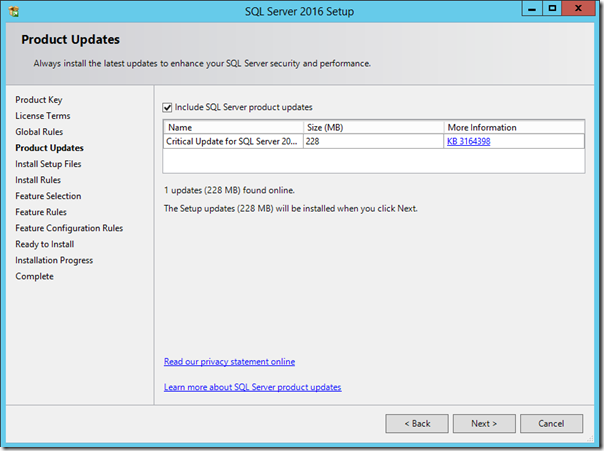 SQL Server 2016 Product Update