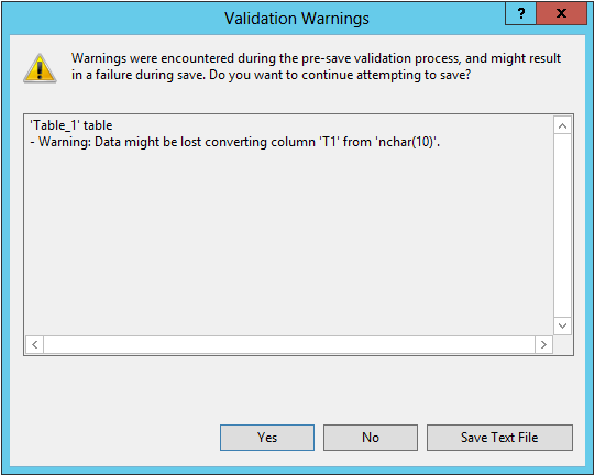 SQL Server Drop Table Warning Continue