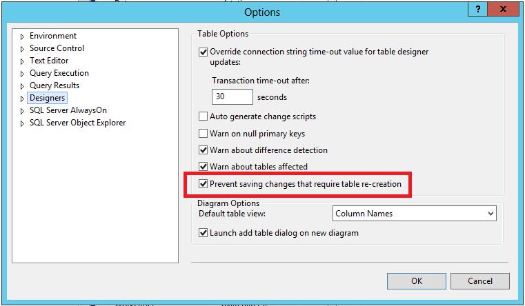 SQL Server Option Prevent Saving Changes