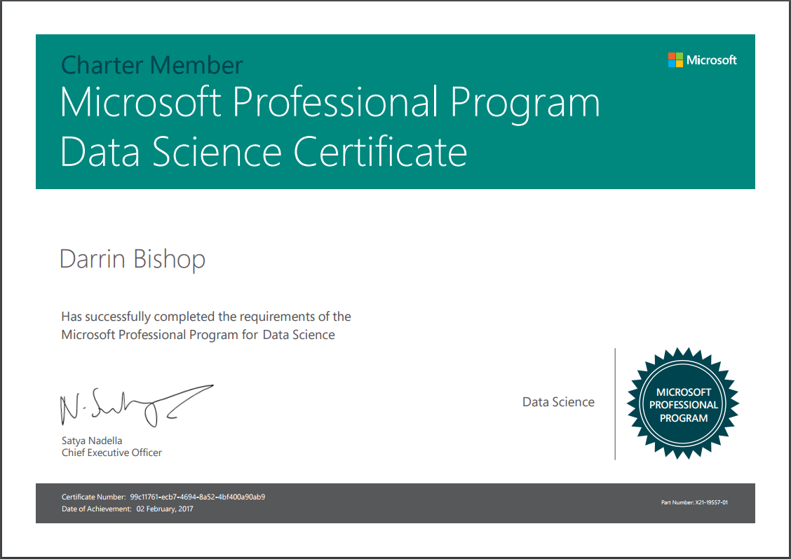 Completed The Microsoft Professional Program Certificate In Data