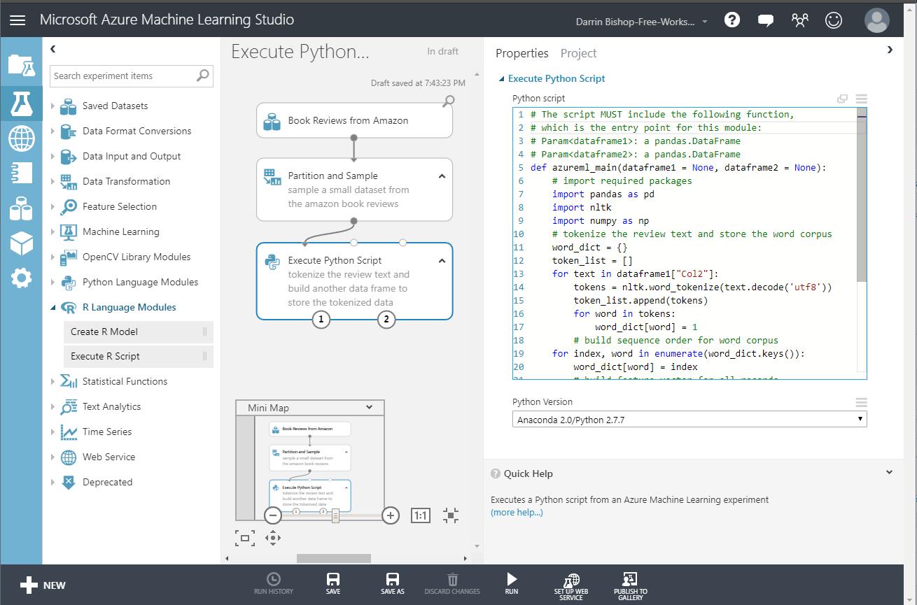 Azure Machine Learning Python Script